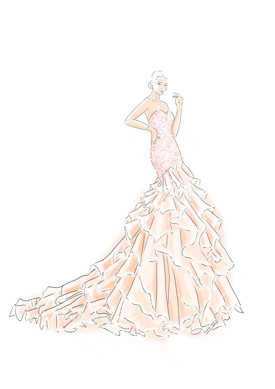 Godet-Brautkleid vorne