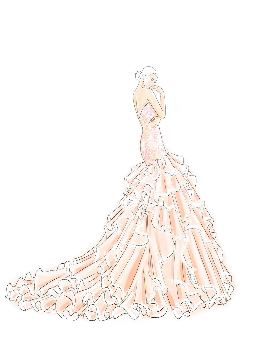 Godet-Brautkleid hinten
